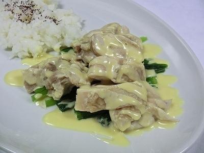 ゆで鶏と小松菜の辛子マヨネーズソース&ライス