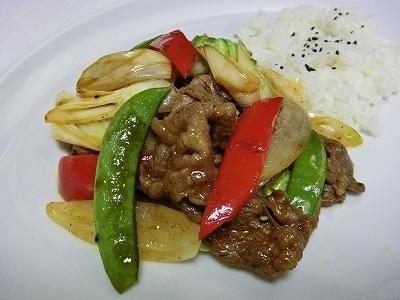 牛肉と野菜炒めケチャップソース味&ライス